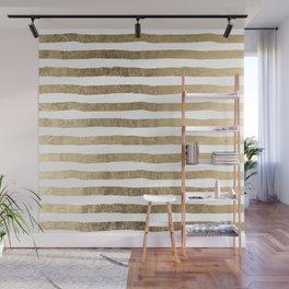 White faux gold elegant modern striped pattern Wall Mural