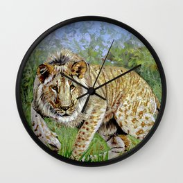 Lion oil painting Wall Clock