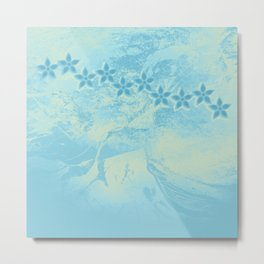 flowers in an abstract blue grunge landscape Metal Print