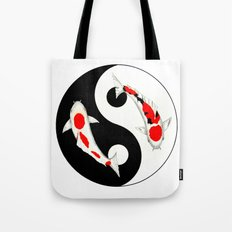 Koi Kohaku and Taisho Sanke Yin Yang Tote Bag
