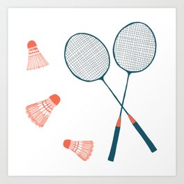 Vintage Badminton Print in blue and red Art Print