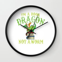 book dragon books dragon bookworm read book Wall Clock