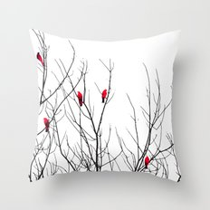Artistic Bright Red Birds on Tree Branches Throw Pillow