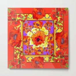 ART DECO ORANGE-RED POPPIES DECORATIVE  PATTERNS Metal Print
