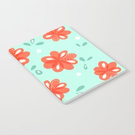 Cheerful Red Flowers Pattern Notebook