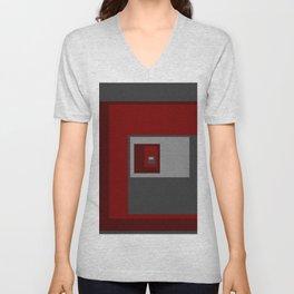 Red Squares Unisex V-Neck