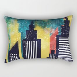 New York City Skyscrapers In Watercolor Art, New York Poster, Wall Art Home Decor, City Skyline Art Rectangular Pillow