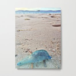 blue bottle on beach Metal Print