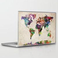 maps Laptop & iPad Skins featuring World Map Urban Watercolor by artPause