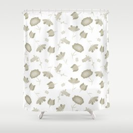 Tan and White Floral Pattern Shower Curtain