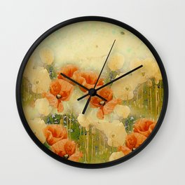 Vintage Poppies Wall Clock
