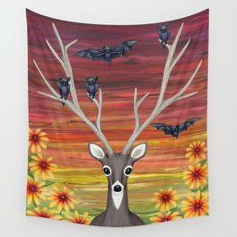 white tailed deer, bats, black eyed susans Wall Tapestry