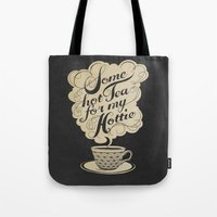 hot Tote Bags featuring Some Hot Tea For My Hottie by Laura Graves