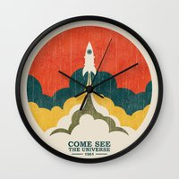universe Wall Clocks featuring Come See The Universe by Picomodi