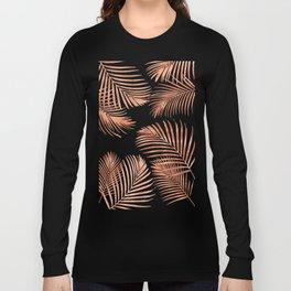 Rose Gold Palm Leaves Long Sleeve T-shirt