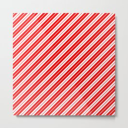 Candy Cane Stripes in Red and White v2 Metal Print