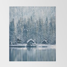 Winter's Cottage (Color) Throw Blanket
