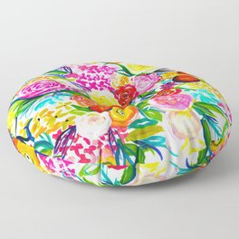 Neon Summer Floral // Small print Floor Pillow