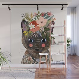 Siamese Cat with Flowers Wall Mural