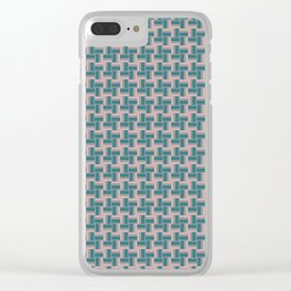 Teal Mauve Pinwheel Pattern Clear iPhone Case