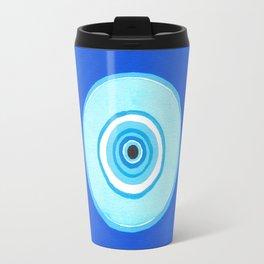 Blue and Silver Evil Eye Mandala Travel Mug
