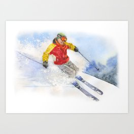 Skier, watercolor paintingon . Art Print