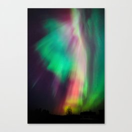 Big beautiful multicolored northern lights in Finland Canvas Print
