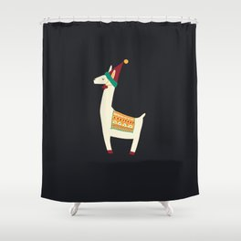 Christmas llama Hat Shower Curtain