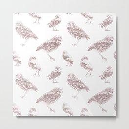 Burrowing Owls Dots - Woodrose Metal Print