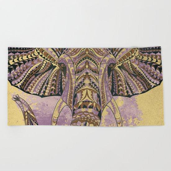 Grunge Ethnic Elephant Beach Towel