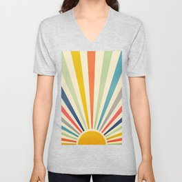 Sun Retro Art III Unisex V-Neck
