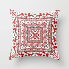 Mezen painting. Russian folklore ornament. Throw Pillow