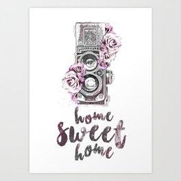 Vintage Camera, Home Sweet Home Art Print