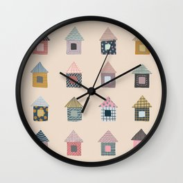 Patterned Houses Wall Clock