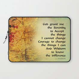 Serenity Prayer Autumn Trees on Green Laptop Sleeve
