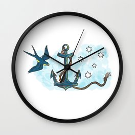 Anchor Swallow Southern Star Tattoo Wall Clock
