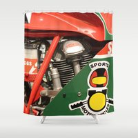 ducati Shower Curtains featuring Ducati Motor by Internal Combustion