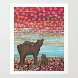 brown bears and stars Art Print