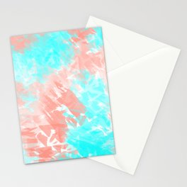 Artsy Modern Coral Cyan Abstract Art Stationery Cards