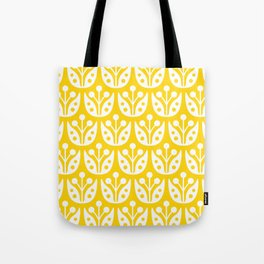 Mid Century Flower Pattern Yellow Tote Bag