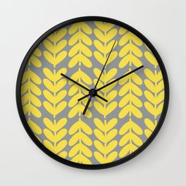 Chunky Knit Leaves and Stems Minimalist Botanical Pattern in Lemon Yellow and Light Gray Wall Clock