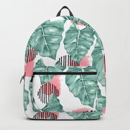 Watercolor tropical leaves abstract Backpack