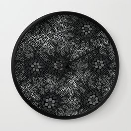 Authentic Aboriginal Art - Waterhole Dreaming B&W Wall Clock