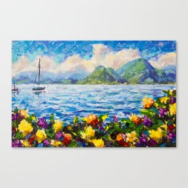 Original palette knife painting Warm summer seascape by Valery Rybakow Canvas Print