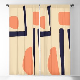 Coral and Blue Blackout Curtain