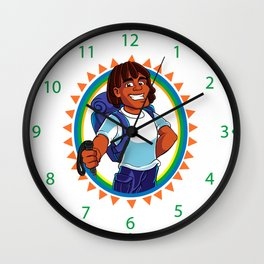 Black Man hiker mascot Wall Clock