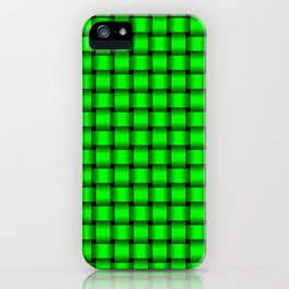 Small Neon Green Weave iPhone Case