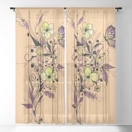 Flower Tattoo in Yellow and Purple Sheer Curtain