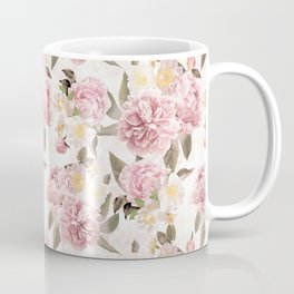 Vintage & Shabby Chic - Antique Sepia Summer Day Roses And Peonies Botanical Garden Coffee Mug