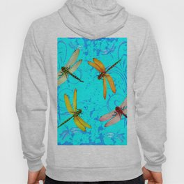 DRAGONFLY WORLD IN BLUE ABSTRACT ART DESIGN Hoody
